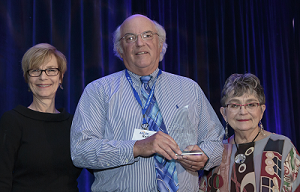 Rod Braun being presented a 2018 Legacy Leader Award by ANCOR CEO Barbara Merrill (l) and Bonnie Jean Brooks (r)